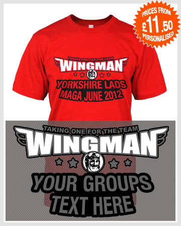 wingman stag and lad holiday t-shirts